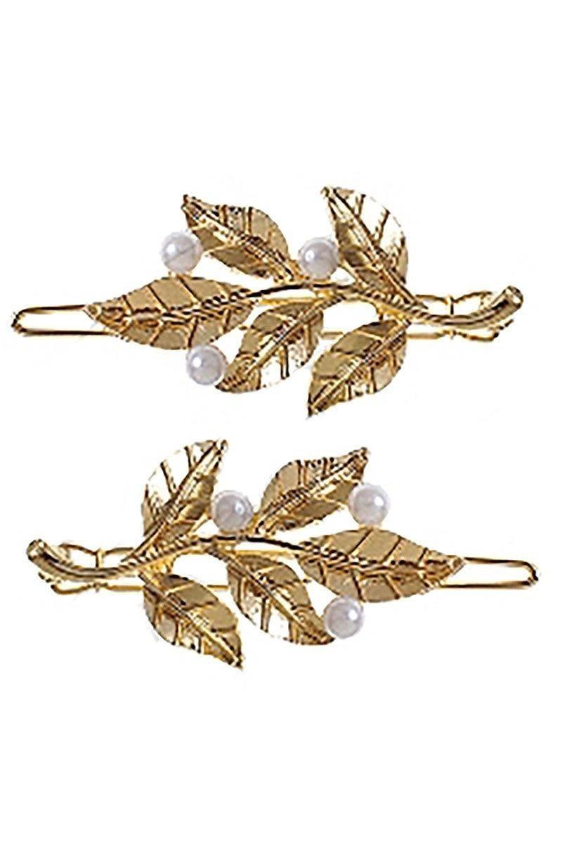 Two-Piece Leaf Pearl Hair Clip Set