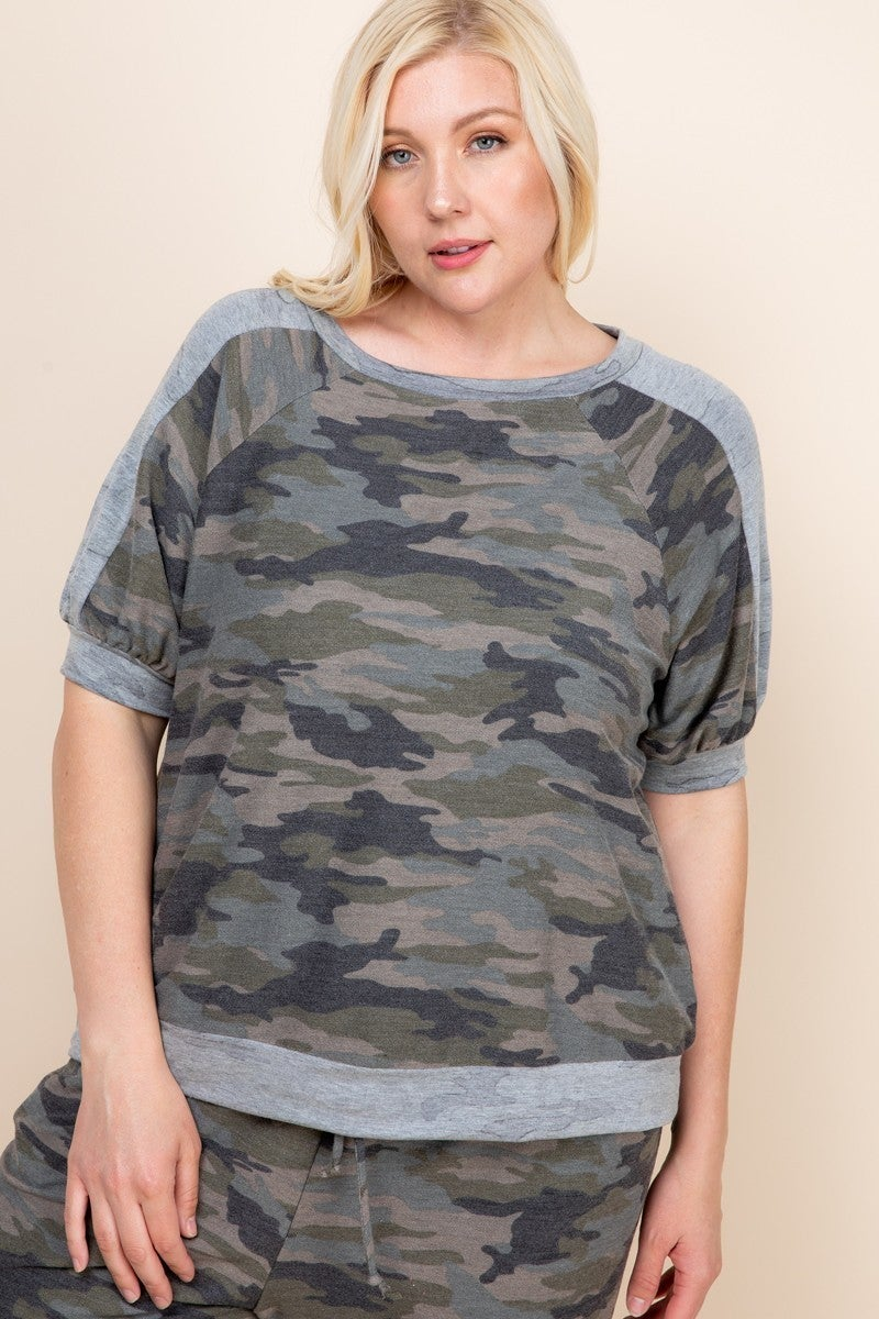 Plus Camo Loungewear Top