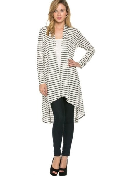 Cardigan ~ Lyndsey ~ Available in Black and Stripes