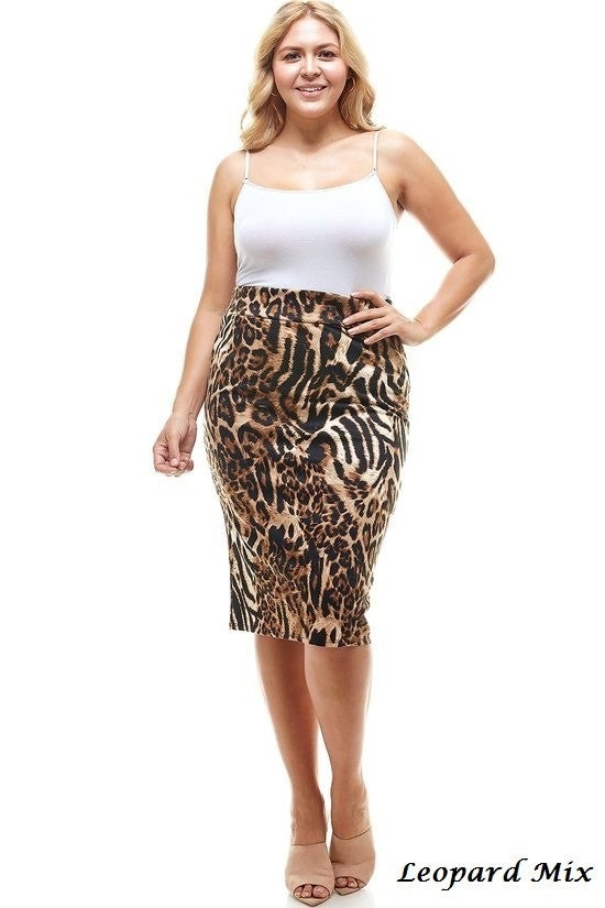 Plus Skirt ~ Animal Print ~ Available in Multiple Styles