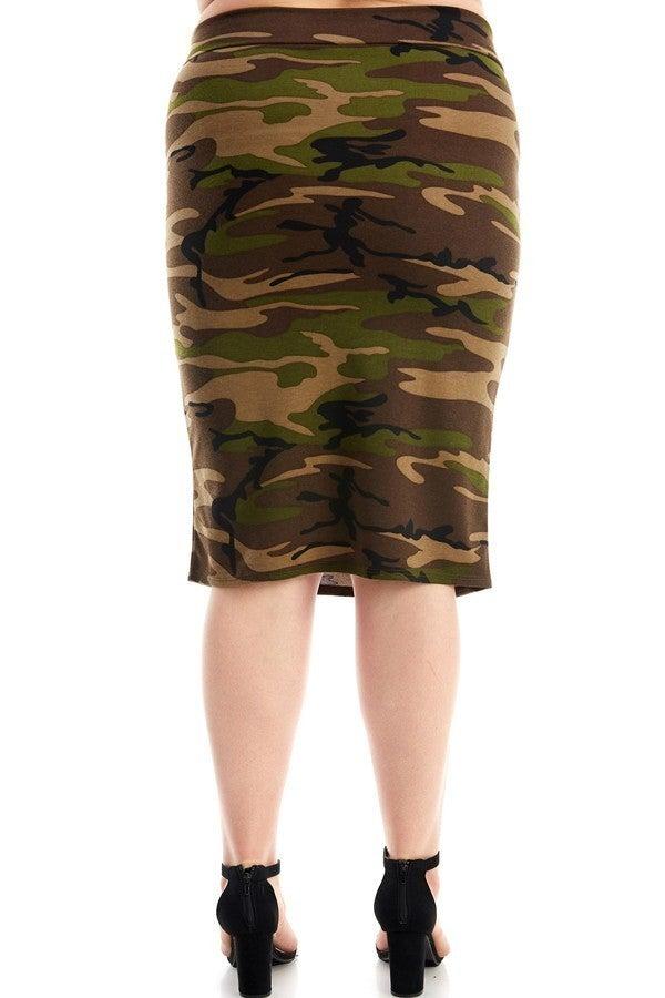 Plus Skirt ~ Camouflage Print