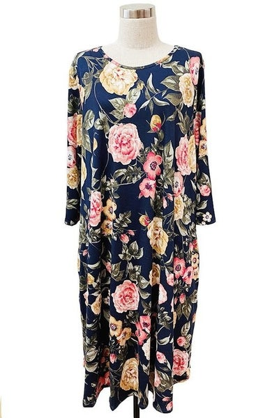 Plus Dress ~ Lillian ~ Available in Black and Navy