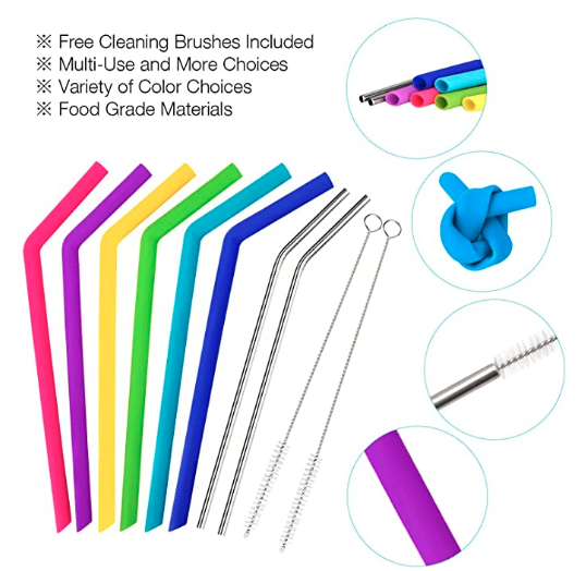Silicone and Stainless Straw Kit