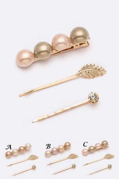Pearl ~ Three-Piece Hair Clip Set
