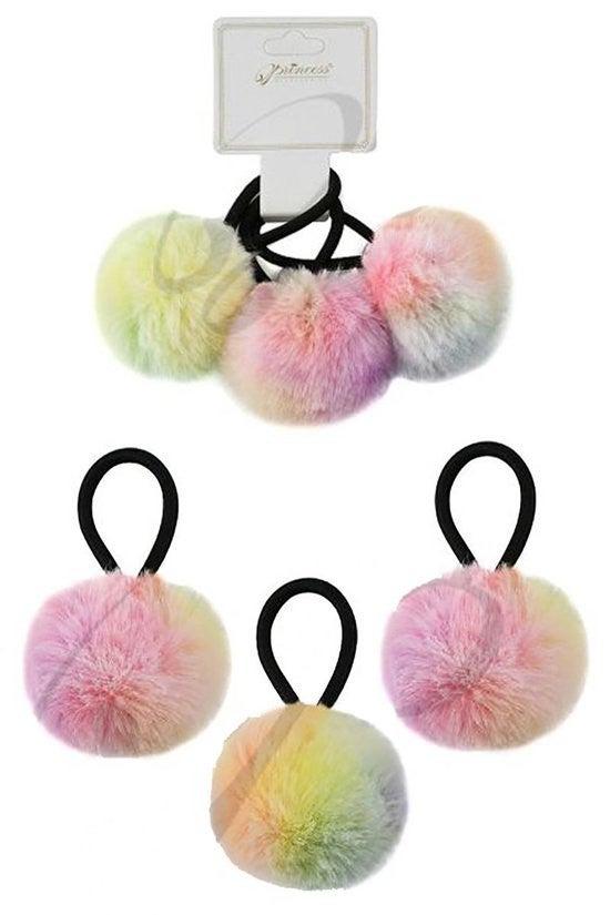 3-Piece Pom Pom HairTie Set ~ Pam