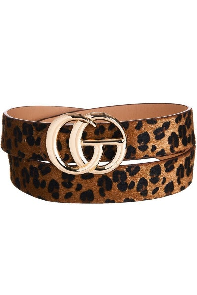 Faux Leopard Fur Belt