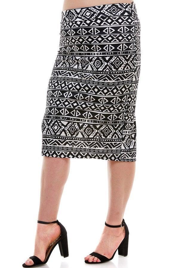 Plus Skirt ~ Aztec Print