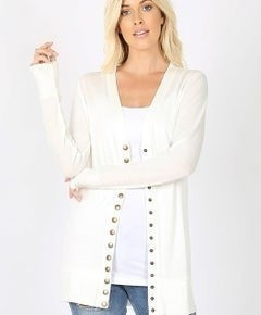 Ivory Thigh Length Snap Button Cardigan