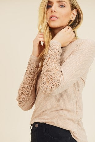 Long Sleeve Crochet and Button Detail Top