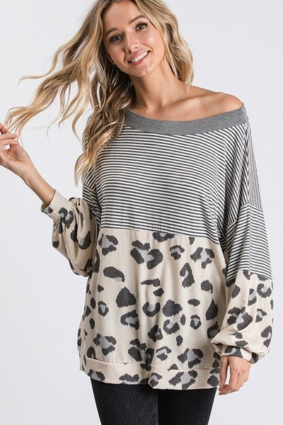 Stripe Leopard Color Block Top