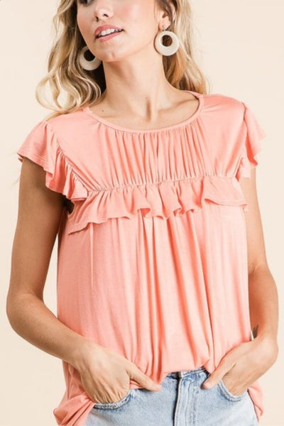 Gathered Top w/ Ruffles