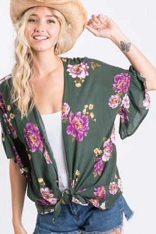 Floral Ruffle Sleeve Cardigan