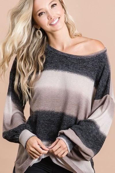 Gradation Print Knit Sweater