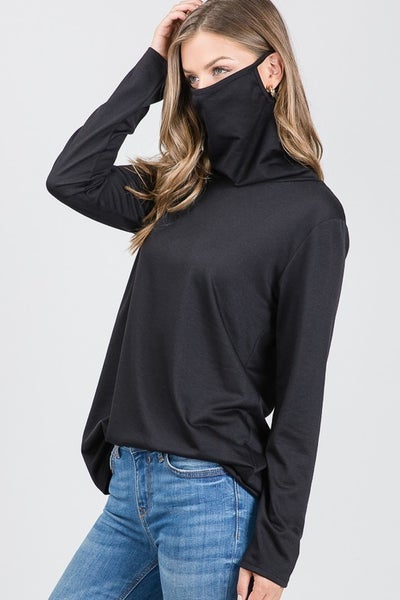 Cowl Neck Top w/ Face Mask