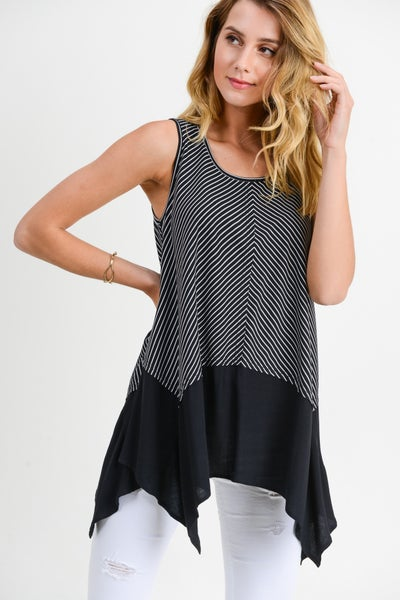 Stripe Asymmetrical Hem Tank Top
