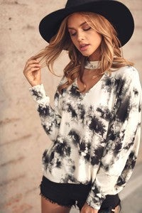 Black & White Tie- Dye Top Plus