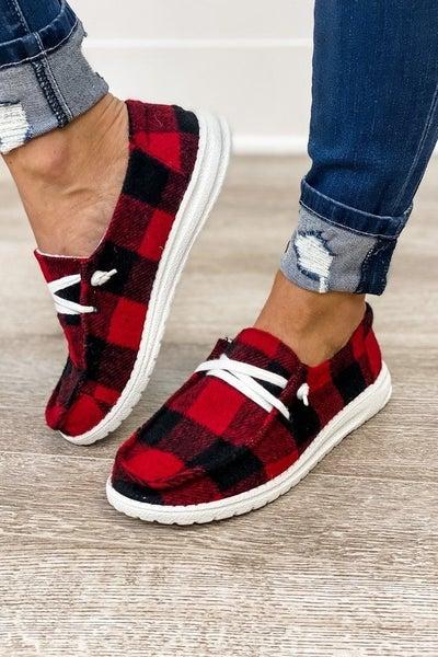 Buffalo plaid loafers