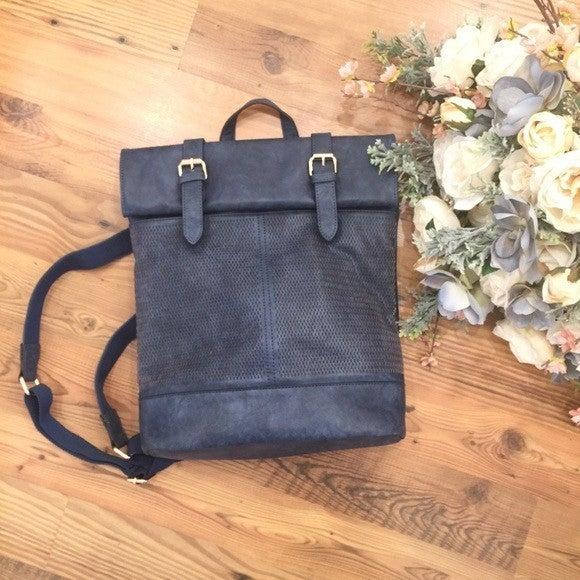 Blue Leather & Buckle Bag