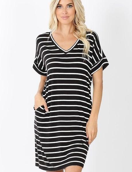 Black/Ivory Stripe Dress