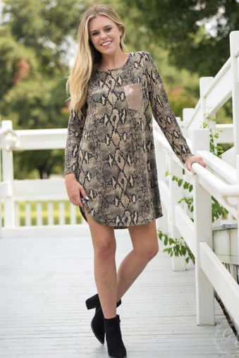 Snake Dress w/ Sequin Pocket