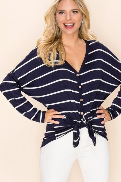 Plus Size Navy/Ivory Long Sleeve Button Down