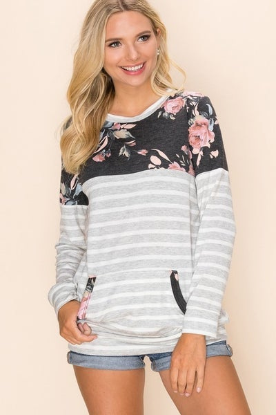 Floral Stripe Pocket Top