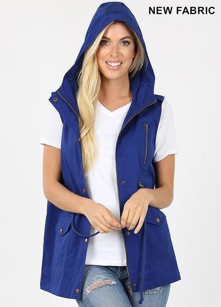 Hooded Drawstring Waist Vest
