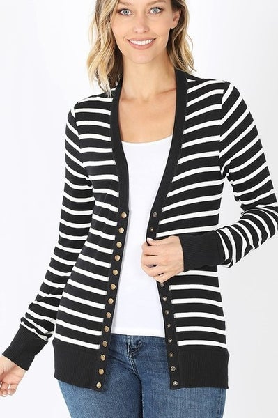 Snap Button Striped Sweater Cardigan