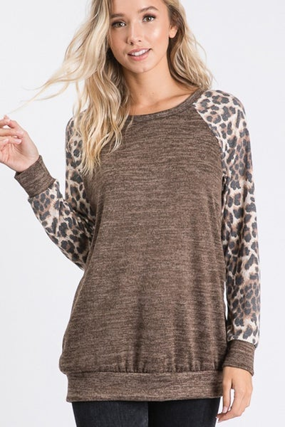 Mocha Animal Sleeve Top