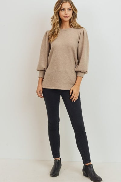 Oatmeal Puff Sleeve Top