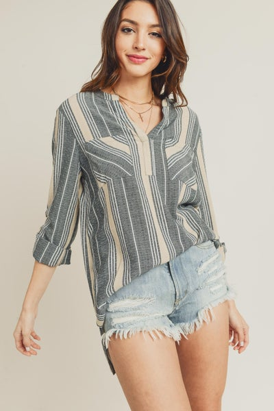 Front Pocket Stripe Top