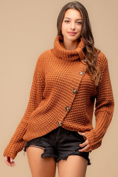 Turtle Neck Button Down Sweater