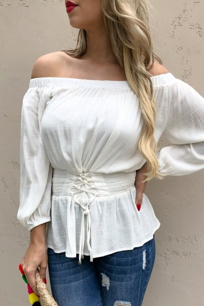 Waist Smocking Lace Up Tie Off Shoulder Top