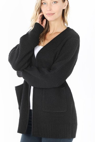 Black Waffle Knit Cardigan