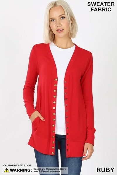 SNAP BUTTON CARDIGAN WITH SIDE POCKETS