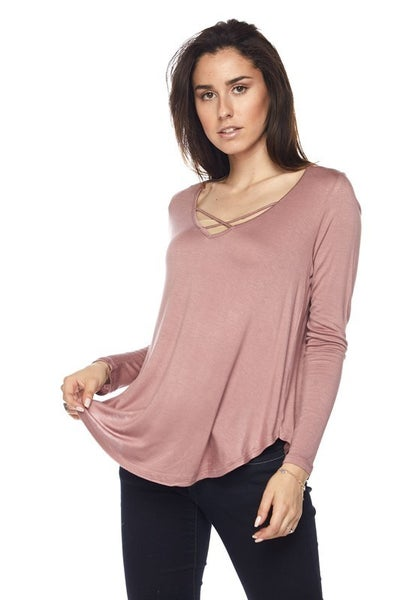 Long Sleeve Criss Cross Front Top