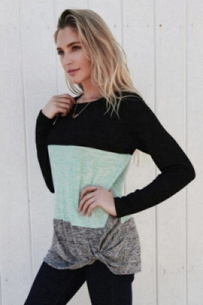 Black/Mint Color Block Top
