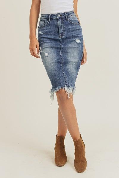 Frayed Hem Midi Skirt
