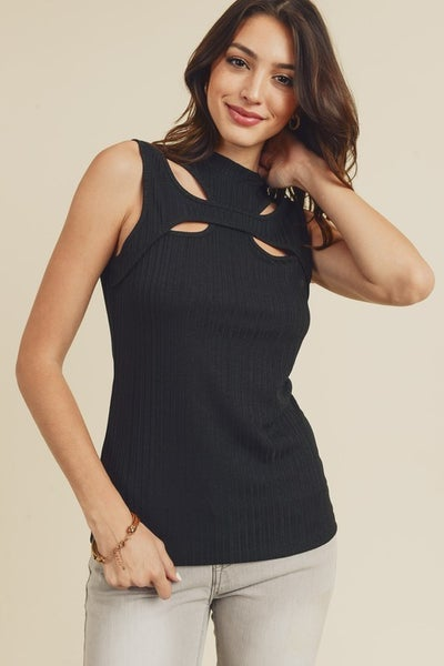 Scoop Neck Cutout Sleeveless Top