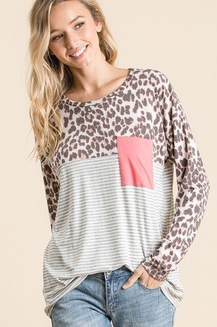 Leopard & Stripes Long Sleeve Top