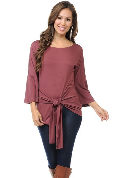 Bell Sleeve Top With Front Tie