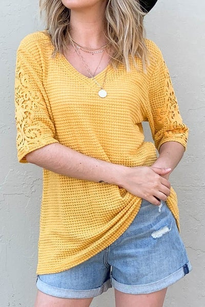 Waffle Knit Top w/ Lace Sleeves