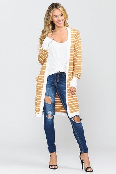 Thigh Length Striped Cardigan