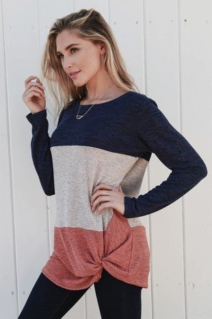 Rust/Navy Color Block TOp