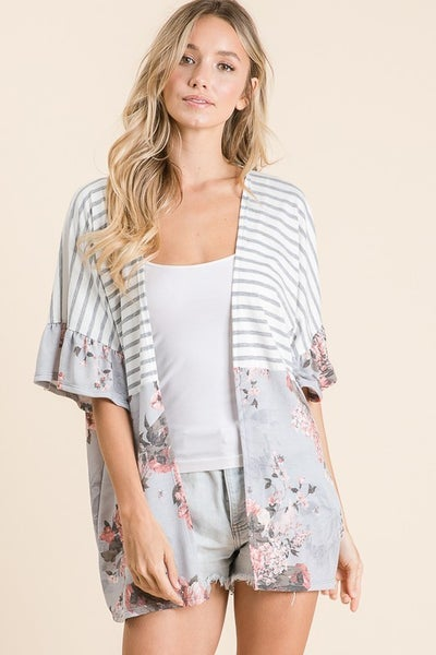 Stripe Floral Ruffle Kimono