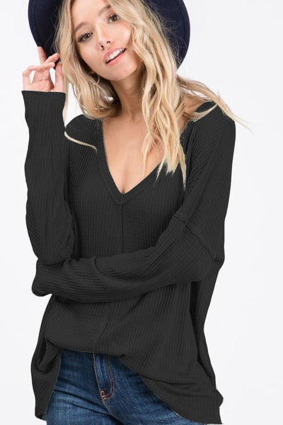 Thermal Waffle Long Sleeve Top
