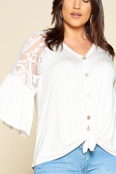 Front Tie Top with Lace Sleeve