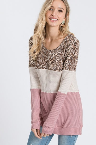 Leopard Mauve Colorblock Top