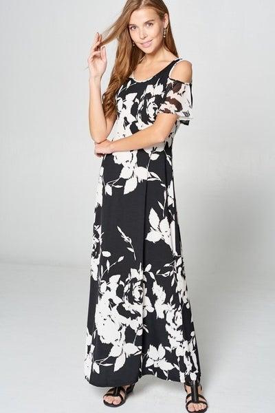 Black & White Floral Maxi Dress