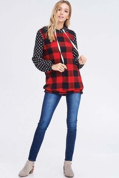 Buffalo Plaid/Polka Dot Hoodie *Final Sale*